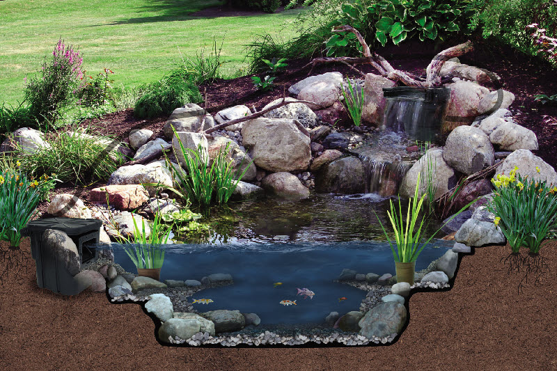Acadian aquatic systems pond kits water gardens for Waterfall pond liners